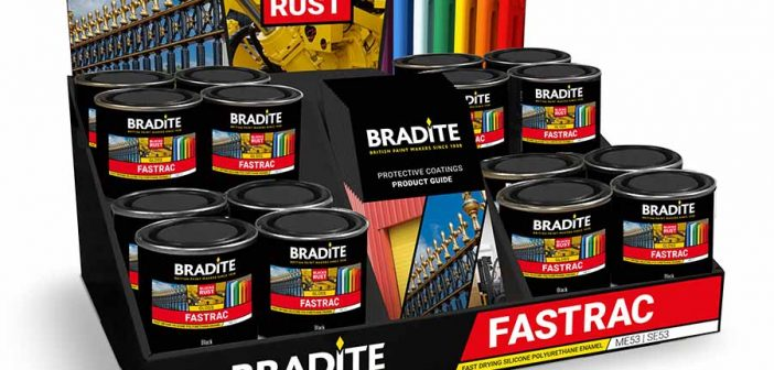 Quick-Drying, rust inhibiting Fastrac coating from Bradite